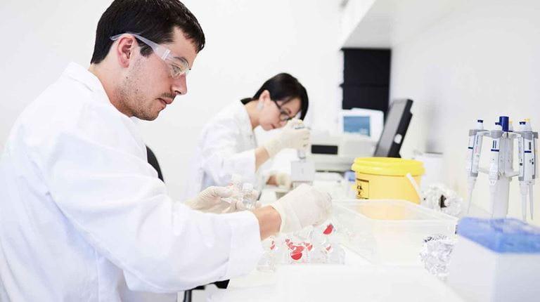 Mitabeiter beim wissenschaflichen Labortest